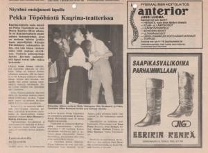 """Pekka Töpöhäntä sanoo Maijo Maitaparralle (Piia Honkanen) """"Tahdon."""" Rannikkoseutu 24.11.1987"""